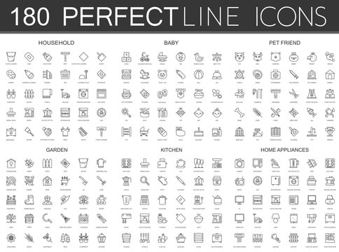 180 modern thin line icons set of household, baby, pet friend, garden, kitchen, home appliances.