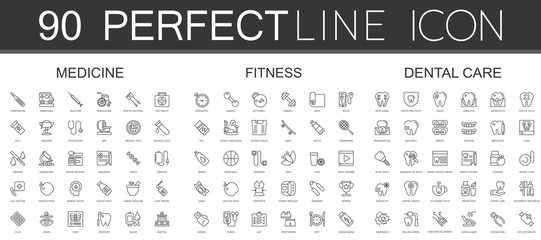 90 modern thin line icons set of medicine, fitness, dental care