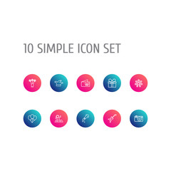 Set Of 10 Party Outline Icons Set.Collection Of Gift, Card, Stars And Other Elements.