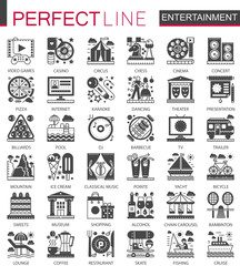 Entertainment classic black mini concept symbols. Modern icon pictogram vector illustrations set.