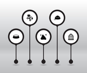 Set Of 5 Mammal Icons Set.Collection Of Pile, Food, Scissor And Other Elements.