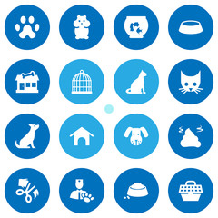 Set Of 16 Animals Icons Set.Collection Of Home, Head, Birdcage And Other Elements.