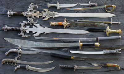 collection of medieval knives