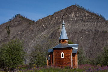 Chapel on the site of the former city of Zashiversk. The Indigirka river, Sakha Republic, Russia.