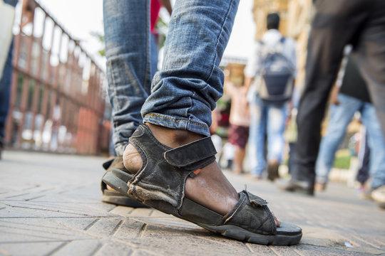Man wearing sandals