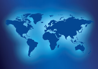 dark blue background with map of the world - vector illustration