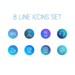 Set Of 8 Laptop Outline Icons Set.Collection Of Hdd, Powerbank, Server And Other Elements.