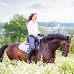 Young rider girl with long hair riding bay horse on chamomile field