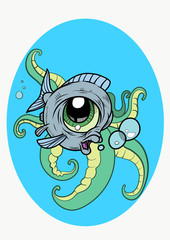 A funny Fish with bubbles and tentacles in cartoon style. Vector Illustration