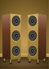 A couple of tower twins speakers. Vector Illustration