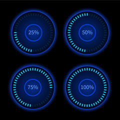 Collection of blue round progress circles. Download sign. Load system