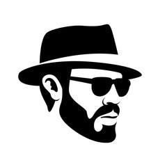 men head face hipster vector illustration black silhouette