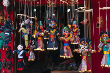 Puppets of hindu god/goddesses on sale at curio shops.