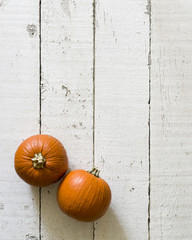 Two small orange pumpkins on white background