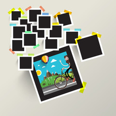 Photo Frames with Man on Bike Picture. Vector.