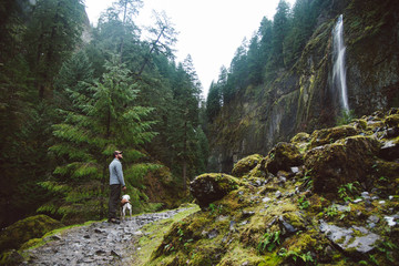 Young man exploring a waterfall on a hike with his dog.