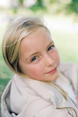 Portrait of a little girl outdoors.