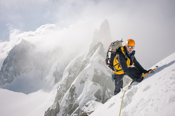 Mountaineer on high mountain expedition