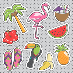Fun trendy vintage sticker tropical fashion badges
