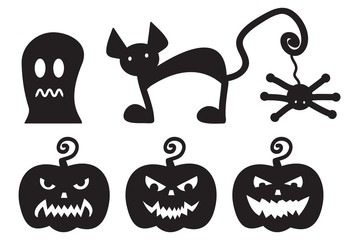 Halloween silhouettes monsters. Vector illustration set on white background.