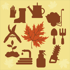 autumn agricultural icons with autumn leaves_2