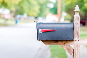 Mailbox with flag up and open Buy this stock photo and explore