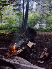 Man Making a Campfire in the Woods