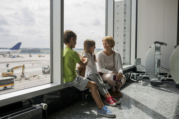 Family waiting for their plane