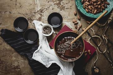 Making chocolate muffins