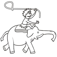 Elephant and hunter, vector icon, coloring page