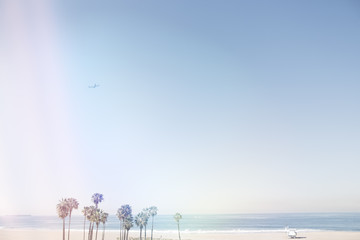 Double exposure of Californian beach and colorful light reflections