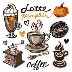 Hand drawn doodle coffee illustration