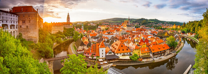 Panoramic sunset view over the old Town of Cesky Krumlov, Czech Republic