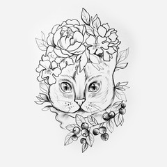 Sketch of a cat's head in beautiful flowers on a white background.
