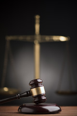 Law scales and wooden gavel