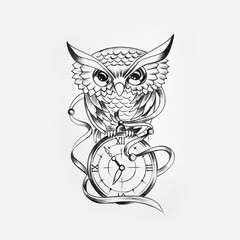 Sketch of a wise owl with a watch on a white background.