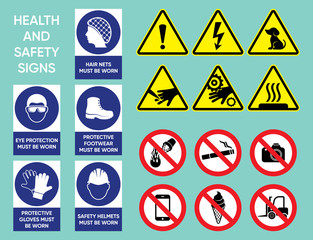 Health and safety signs collection