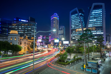 Seoul. Cityscape image of Seoul downtown at night.