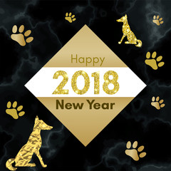 2018 chinese new year of yellow dog concept with golden vector paw track, glitter, foil texture, animal silhouette, template for calendar, poster, banner, greeting card