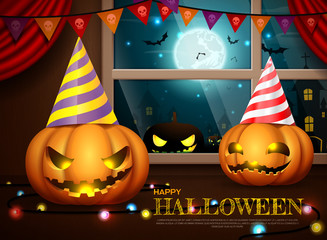 halloween pumpkins party vector illustration