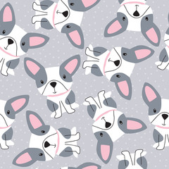 seamless french bulldog pattern vector illustration