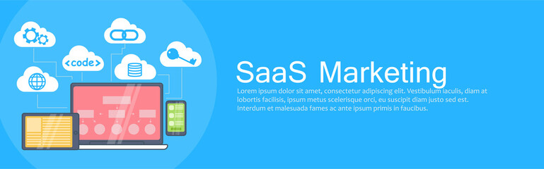 SaaS Marketing Banner. Laptop, tablet and phone, cloud storage with icons Wall mural