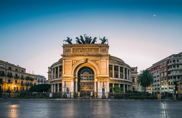 Foto op Textielframe Palermo The morning view of the Politeama Garibaldi theater in Palermo, Sicily, Italy
