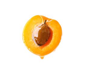 Half of fresh apricot on white background