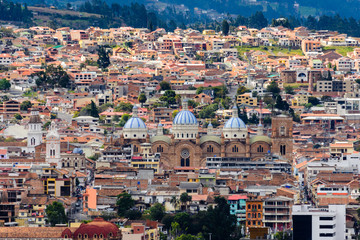 New cathedral of Cuenca from Turi lookout, Ecuador