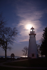 Marblrhead Lighthouse with the supermoon