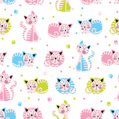 Seamless background with cats for kids