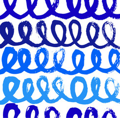 Abstract paint pattern with ink spirals. Vector background with blue brushes strokes
