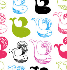 Funny seamless pattern with colorful whales silhouettes. Vector decorative background