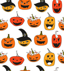 Halloween vector seamless pattern with angry pumpkins. Decorative background with funny drawing pumpkins